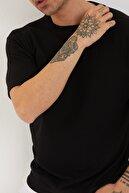 XHAN Erkek Siyah Petek Örgü Waffle Kumaş Oversize T-shirt