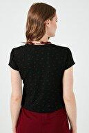 Lela Kadın Siyah Baskılı Kruvaze Yaka Bluz Bluz 5864000