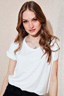 Lela Kadın Ekru V Yaka Bluz Bluz 5862000