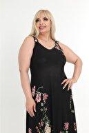 HERAXL Kadın Büyük Beden Siyah Çiçek Desen Askılı Toka Detaylı Elbise