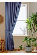 home color home Indigo Petek Kadife Dokulu Fon Perde 140x260 Düz Dikişli Ekstrafor Büzgü