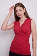 Jument Kadın Anvelop Kruvaze Önü Büzgülü Kolsuz Bluz