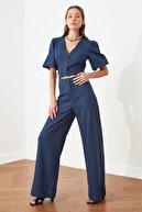 TRENDYOLMİLLA Mavi Wide Leg Düğme Detaylı Pantolon TWOSS21PL0429