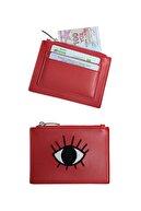 Bakras Kırmızı Göz Işlemeli Kartlık Bölmeli Fermuarlı Mini Çanta