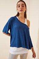 Happiness İst. Kadın İndigo Mavi Atletli Salaş İkili T-shirt ZV00136