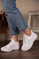Ccway Kadın Beyaz Hologram Lastik Bağlı Streç Spor Ayakkabı