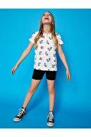 Koton Kız Çocuk Ekru Baskılı Kısa Kollu Bisiklet Yaka T-Shirt
