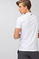 Lacoste Erkek Regular Fit Bisiklet Yaka Baskılı Beyaz T-Shirt TH0061F