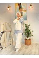 ASEL FASHİON Kadın  Line Beyaz Keten Takım