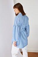 Trendyol Modest Mavi Gömlek Yaka Balon Kol Kuşaklı Tesettür Tunik TCTSS21TN0222