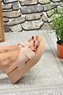 Fox Shoes Kadın Ten Çapraz Bantlı Parmak Arası Terlik K610002409