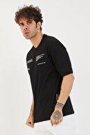 XHAN Erkek Siyah Baskılı Oversize T-shirt 1yxe1-44877-02