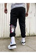 Moda Fethi Erkek Siyah Baskı Detaylı Bol Kalıp Eşofman