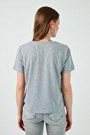 Lela Kadın Gri Baskılı Bisiklet Yaka Pamuk T-Shirt 6001017