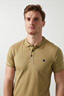 Buratti Erkek Açık Haki Düğmeli Polo Yaka Standart Fit Pamuklu T Shirt 0438101