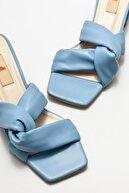 Elle Kadın Mavi Topuklu Terlik
