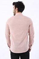 Arlin Erkek Keten Düğmeli Ayarlanabilir Uzun Kollu Pudra Gömlek