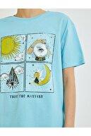 Koton Kadın Mavi Baskılı T-Shirt