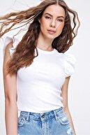 Trend Alaçatı Stili Kadın Beyaz Omuzları Fırfırlı Fitilli Bluz ALC-X6240