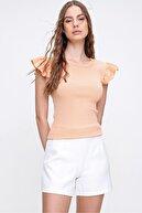 Trend Alaçatı Stili Kadın Somon Omuzları Fırfırlı Fitilli Bluz ALC-X6240
