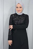YSRSTORE Kadın Siyah Aerobin Kumaş Kolları ve Ön Kısmı Zara Pul Payetli Tunik Pantolon Takım
