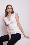 Jument Kadın Krem Anvelop Kruvaze Önü Büzgülü Kolsuz Bluz