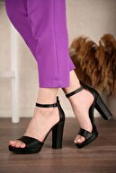 Ccway Kadın Siyah Cilt Tek Bantlı Platform Topuklu Ayakkabı