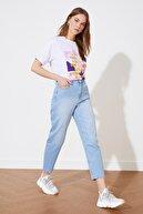 TRENDYOLMİLLA Mavi Yüksek Bel Baggy Jeans TWOSS21JE0696