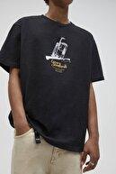 Pull & Bear Koyu Antrasit Mineral Baskılı T-Shirt 04241564
