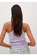 Mango Kadın Açık Pastel Mor Asimetrik Tasarımlı Üst