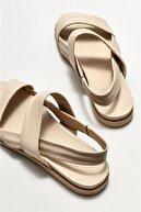 Elle Kadın Bej Deri  Düz Sandalet