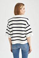 Defacto Kadın Lacivert Geometrik Gömlek Yaka Triko Tişört