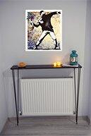 AnDekoDizayn Petek Üstü Ayaklı Raf Dresuar Mermer Desen/mat Siyah 100x90x18 Cm