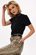 Madmext Kadın  Siyah Balıkçı T-Shirt Mg1066