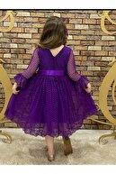 Pumpido Dantelli Kızçocuk Elbisesi Mor