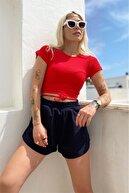 SwistLuxury Kadın Kırmızı Kısa Kol Biye Bağlamalı Crop Bluz