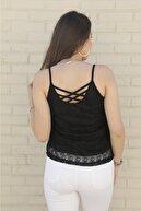 fersee Kadın Siyah Dantel Askılı Bluz