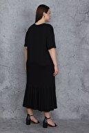 Şans Kadın Siyah Ön Baskılı Etek Ucu Katlı Uzun Viskon Elbise 65N23764