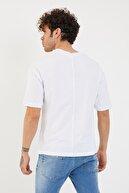 XHAN Erkek Beyaz Baskılı Oversize T-shirt