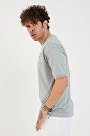 XHAN Buz Mavisi Baskılı Oversize T-shirt 1yxe1-44877-43