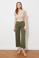 TRENDYOLMİLLA Haki Yüksek Bel Culotte Jeans TWOSS21JE0533