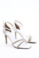 Marjin Kadın Beyaz Abiye Topuklu Ayakkabı