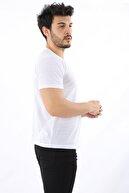 Arlin Erkek V Yaka Kısa Kollu Slim Fit Beyaz T-shirt