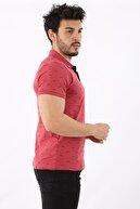 Arlin Erkek Polo Yaka Düğmeli Kuş Baskılı Slim Fit Gül Kurusu T-shirt