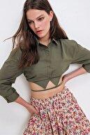 Trend Alaçatı Stili Kadın Haki Bağcıklı Crop Poplin Gömlek ALC-X6039