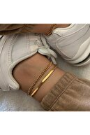 Mysoho Accessories Kadın Gold Herringbone 2 Li Halhal