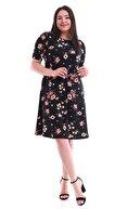 Alesia Büyük Beden Çiçek Desenli Kısa Kol Elbise