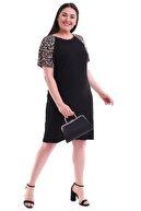Alesia Kadın Siyah Omuzu Yılan Desenli Viskon Elbise