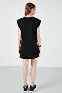 Lela Kadın Siyah  Bisiklet Yaka % 100 Pamuk Mini T Shirt Elbise 6010018