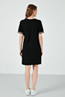 Lela Kadın Siyah Bisiklet Yaka % 100 Pamuk Mini T Shirt Elbise 6010017